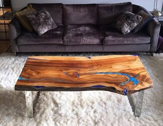 Captivating Live Edge Coffee Table With Glowing Resin Fillin