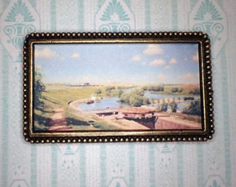 Miniature 1:12 Dollhouse Painting - Johan Krouthén -  View of Linköping