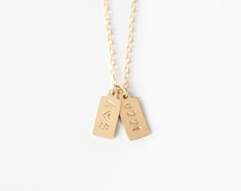 Custom Hand Stamped Necklace - MINI Initial Tags - 14k Gold Filled or Sterling Silver