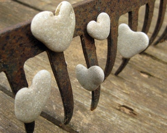 Unique Natural Magnets - Natural Heart Shaped Beach Rocks Magnets