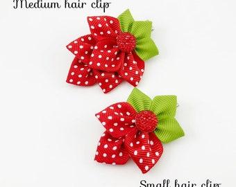 Strawberry Hair Clip, Red Clips, Polka Dot hair clips. Strawberry hair clips. Red hair clips. Toddler hair clips. Summer clips