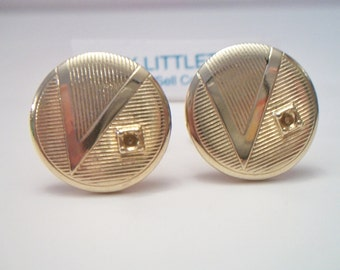 Vintage Round Ribbed Cufflinks Mens Accessories Gold Tone Cuff Links