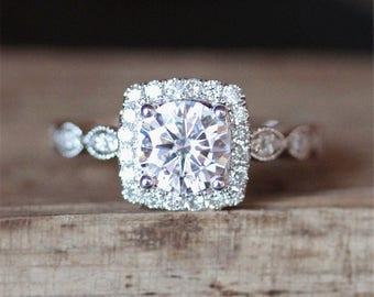1.0ct Forever One Moissanite Engagement Ring 6.5mm Round Cut C&C Moissanite Ring Art Deco Eternity Diamonds Ring 14k White Gold Ring