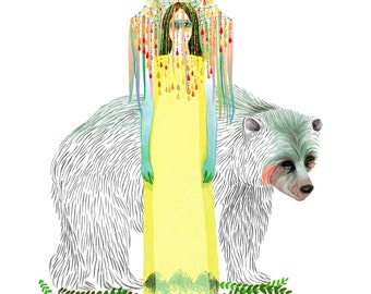 Yellow Queen and Bear art print