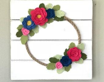 Wall Art, Felt Wreath, felt flower wreath, felt flowers, monogramed wall decor, wedding decor, nursery, baby shower, wedding gift