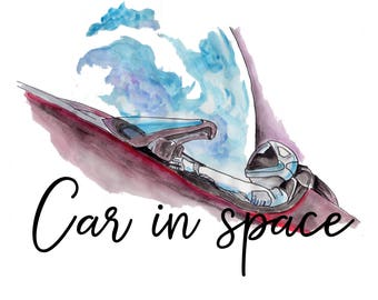 Watercolour Car in space
