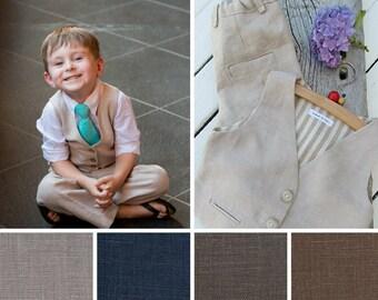 Boys Suits - Boys Linen Suit - Ring Bearer Outfit - Page Boy Outfit - Baptism Suit - Boys Wedding Suit - Baby Boy Suit - Cream Blue Grey