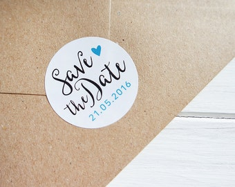 24 Save The Date Stickers Custom Wedding Date Heart Stickers Envelope Seals 40mm / Wedding Favor / 216