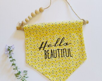Flag - home decor - yellow geometric fabric - wood beads