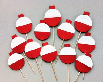 Fishing Party Decor - Bobber Cupcake Picks - Fishing Decorations - Under the Sea Party - Camping Decor - Camping Party - Nautical Birthday