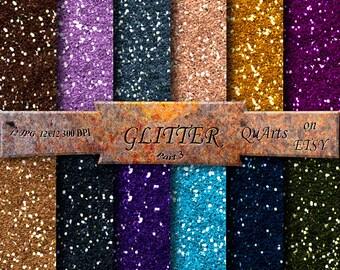 Glitter Digital Paper: Glitter Scrapbook Paper, Printable Glitter Backgrounds, Glitter Paper Pack, Glitter Paper, Digital Download Glitter