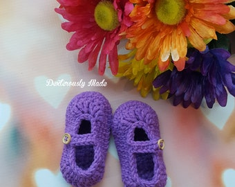 Baby Booties / Crochet Baby Booties / Baby MaryJanes / Baby Mary Janes / Baby Crochet MaryJanes / Purple Booties / 6-12month / RTS
