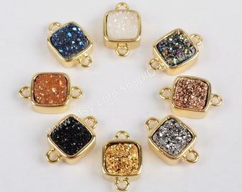 Wholesale Tiny Gold Plated Square Rainbow Titanium Natural Agate Druzy Connectors Double Bails Small Drusy Gemtone Charm Link Finding ZG0140
