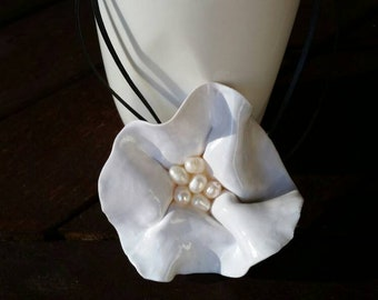 White Flower Pendant with Freshwater Pearl centre