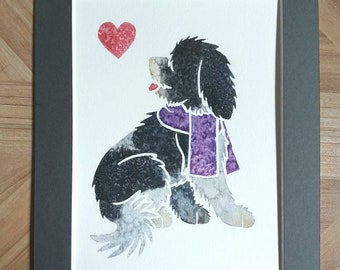 """SCHAPENDOES - Original 10x8"""" mounted watercolour picture of a Dutch Sheepdog, by Yorkshire artist Jess Chappell"""