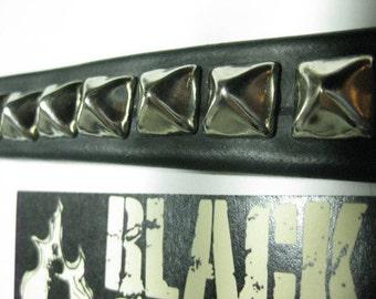 Black Silver Pyramid Snap Bracelet: Vegan Rubber Faux Leather Bike Tube Punk