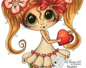 INSTANT DOWNLOAD Digital Digi Stamps Big Eye Big Head Dolls Digi  My Besties TM Img955  Valentine By Sherri Baldy