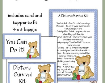 Dieter's Survival Kit includes Topper and Card - Digital Printable - Immediate Download