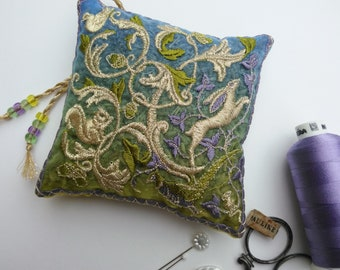 WOODLAND, Embroidered Lavender Bag, Hare, Squirrel, Pheasant, Dove, Mouse, Oak Tree, Acorn. Gift