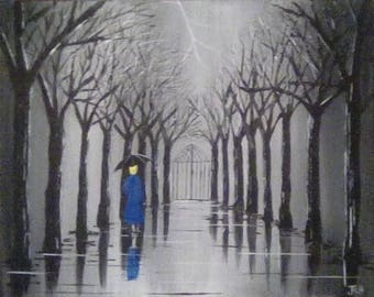 Original Painting. Lady walking down an avenue in a storm.