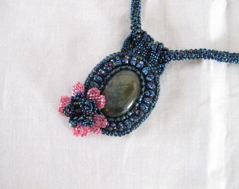 Necklace Labradorite cabochon with beaded flower on a beaded rope