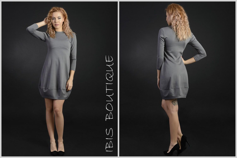 Maxi Frau Winterkleid grau / Plus Größe Kleid / Langarm