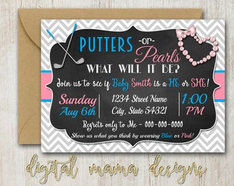 Gender Reveal Invitation - Putters or Pearls Gender Reveal Invite - Putters & Pearls Baby Shower Invitation - Personalized Digital Download