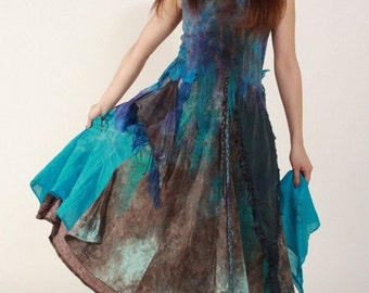 Maxi boho dress Turquoise boho dress Blue brown dress Maxi blue dress Wedding quest dress Felted dress Unconventional wedding gown