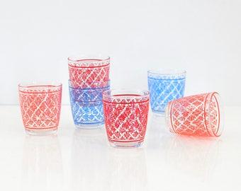 Vintage Sour Cream Glasses / Mid Century Sour Cream Glasses / Vintage Geometric Squiggle Glasses / Colorful Half Pint Sour Cream Glasses