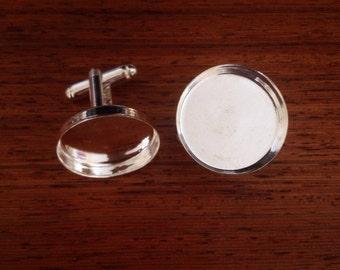 20mm silvertone cufflink blanks / ready for your ideas / cabochon