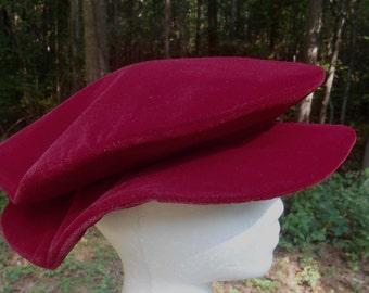 E099    VELVET Pancake Hat  Medieval Renaissance Men's Boy's