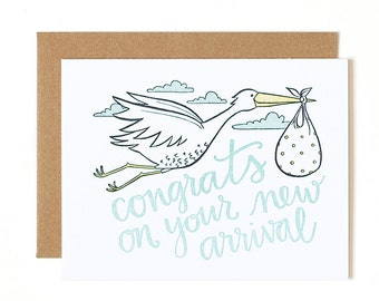 Congrats On Your New Arrival Letterpress Card // 1canoe2