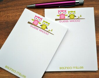 Personalized Notepads / Personalized Owl Notepads / Personalized Notebook /  Preppy Owl Note Pads/ Set of Notepads /  Set of 2 Owl Notepads