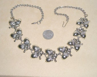 Vintage Silver Tone Acorn Necklace 1950's Jewelry 6066