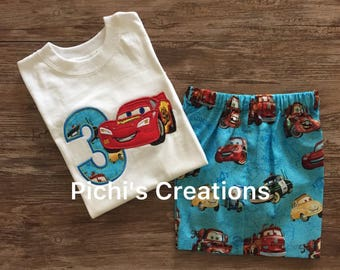 Cars Birthday Outfit,  Birthday Outfit Cars Theme, Lightning McQueen Birthday Outfit for Boys