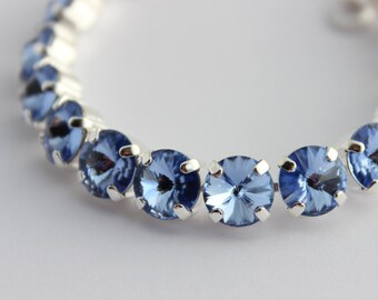 Light sapphire Swarovski Bracelet, sapphire bracelet,tennis bracelet, blue bracelet, blue and silver bracelet, wedding, bridesmaid gift SLS2