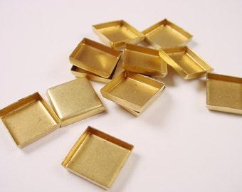 24 Brass Square Bezel Cups 10mm settings
