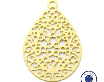 1 x pendant filigree drop 16x24mm - made in Europe - gold