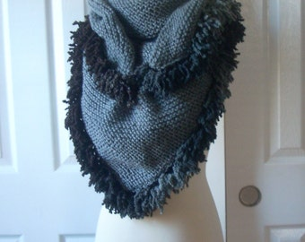 Christmas gift, handmade gift ideas, Handknit Grey Triangle Large Shawl - scarf - collar - Capelet - Cowl - Mother's day gift