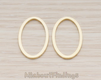 PDT304-04-MG // Matte Gold Plated Simple Oval Link Pendant, 2 Pc