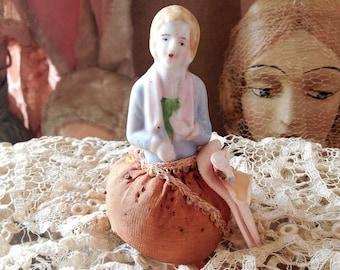 Vintage half doll pincushion miniature porcelain flapper girl pin cushion sewing notion