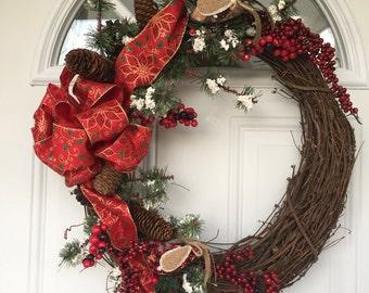 Christmas clearance, Christmas wreath sale, Winter wreath, outdoor wreath, Christmas wreath, Christmas decor, door wreath, rustic wreath