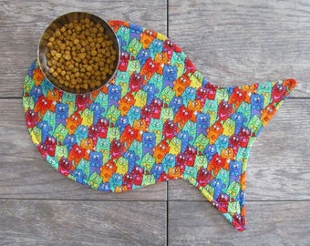 Cat Placemat - Cat Food Placemat - Psychedelic Kitties Placemat - Fish Placemat - Cat Mat - Pet Food Mat - Cat Lovers Gift