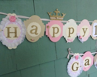 Shabby chic PRINCESS birthday banner crowns tiaras pink gold