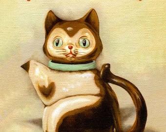 Purr Me Some Tea Print 8x10 - Kitchen Art, Art Print, Home Decor, Vintage Kitchen, Cat, Teapot, Hand-Lettered Typography, Cute, Whimsical