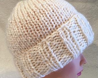 Creamy white chunky acrylic and alpaca hand knit beanie hat
