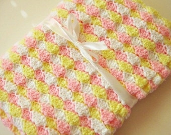 Crochet baby blanket pink yellow white shell blanket photo prop