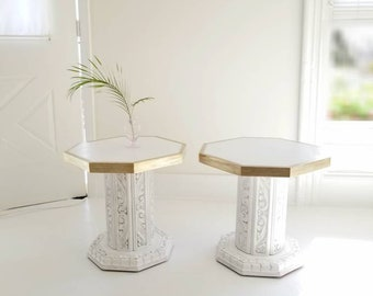 Pair of Hollywood Regency end tables, vintage Boho style hex tables, painted furniture nj NYC