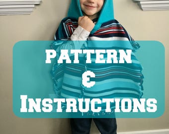 Fleece Poncho Sewing Pattern, Instructions on sewing a poncho for girl or boy, Carseat Poncho Instructions for baby or Toddler
