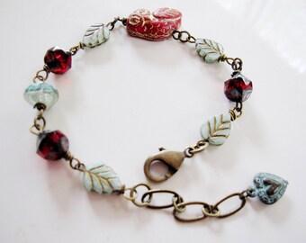 Red Owl Bracelet, Blue leaves, Brass Beaded Bracelet, Bohemian Bracelet, Czech Beads, Everyday Wear